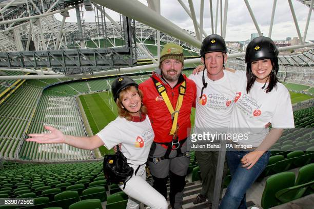 Adi Roche CEO of Chernobyl Children International Work at Height's Mike O'Shea Conall Mallen and Lucy Kennedy are seen in the Aviva Stadium Dublin to...