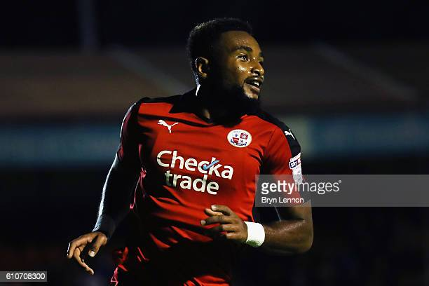 Adi Yussuf of Crawley Town turns to celebrate after scoring during the Sky Bet League Two match between Crawley Town and Colchester United at...