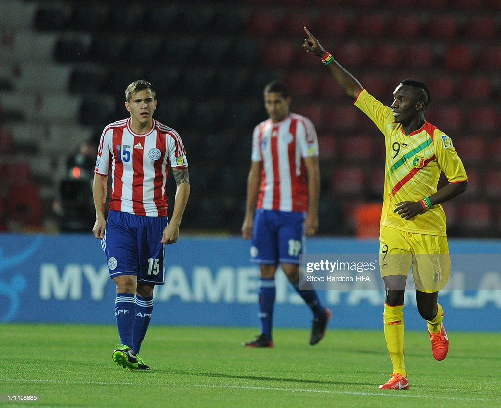 Adiama Niane of Mali celebrates scoring a goal during the FIFA U20 World Cup Group D match between Paraguay and Mali at Kamil Ocak Stadium on June 22, 2013 in Gaziantep, Turkey.