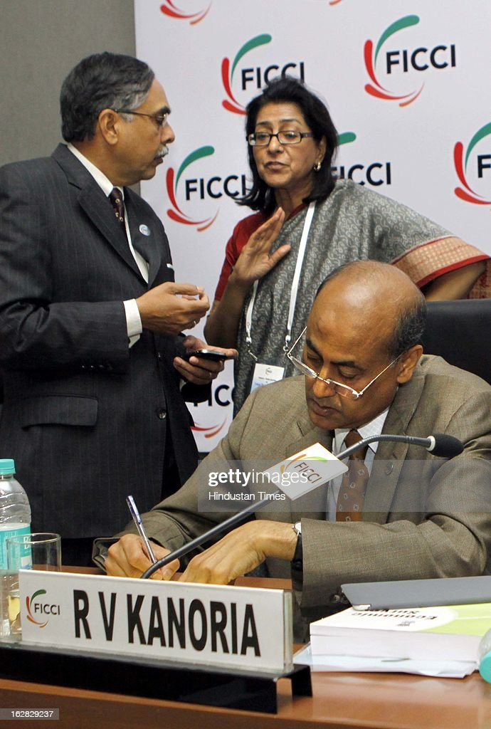 Adidar Singh, RV Kanoria and Naina Lal Kidwai react during Industry - Media Interface on Union Budget Session 2013-14 at Federation House, FICCI on February 28, 2013 in New Delhi, India. India Inc gave a thumbs up to the UPA-II's last Union Budget before the general elections next year.