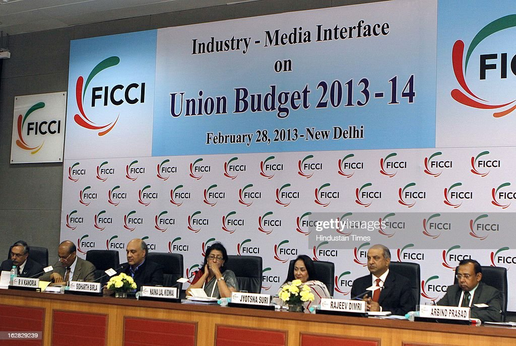 Adidar Singh, RV Kanoria, Sidharth Birla, Naina Lal Kidwai, Jyotsna Suri, Rajeev Dimari and Arbind Prasad react during Industry - Media Interface on Union Budget Session 2013-14 at Federation House, FICCI on February 28, 2013 in New Delhi, India. India Inc gave a thumbs up to the UPA-II's last Union Budget before the general elections next year.