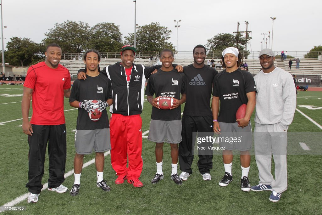 adidas, Eric Berry, Titus Young, Prince Amukamara and Reggie Bush pop into a football practice in Los Angeles to capture game faces as part of the adidas Facebook Game Face contest.