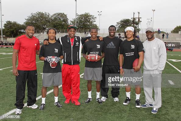adidas Eric Berry Titus Young Prince Amukamara and Reggie Bush pop into a football practice in Los Angeles to capture game faces as part of the...