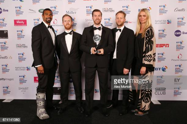 Adidas Football for Pogba X Stormzy pose with the Social Media Campaign of the Year award and David Haye and Jodie Kidd during the BT Sport Industry...