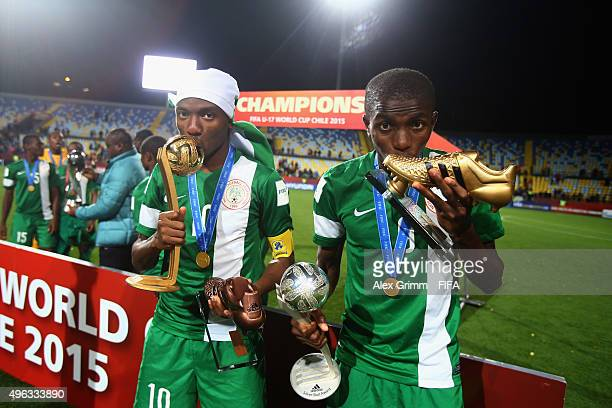 adidas Golden Ball winner Kelechi Nwakali and adidas Golden Boot and Silver Ball winner Victor Osimhen pose with their trophies after the FIFA U17...