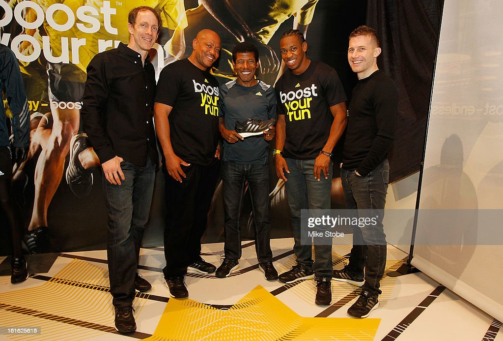 Adidas Head of Sport Performance Eric Liedtke, Olympic Medalist Maurice Greene, Two-time Olympic Champion Haile Gebrselassie, Olympic Medalist Yohan Blake and adidas Creative Director for Sport Performance James Carnes pose for a photo at the Javits Convention Center North on February 13, 2013 in New York City.