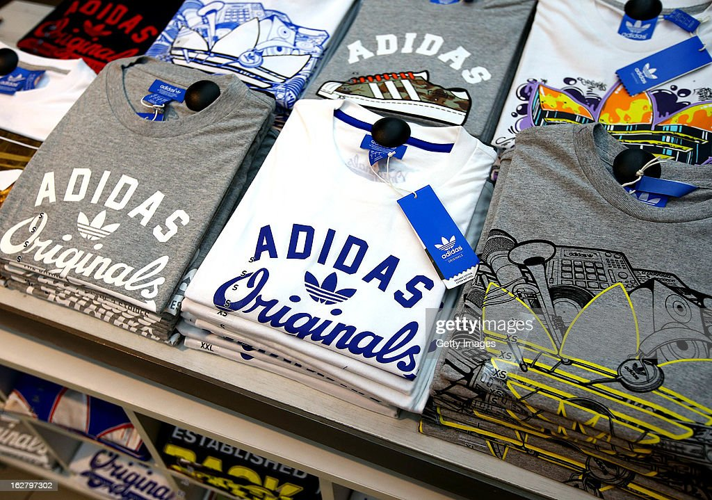 adidas shirts are displayed during the adidas boost launch at the adidas store on Oxford Street on February 27, 2013 in London, England.