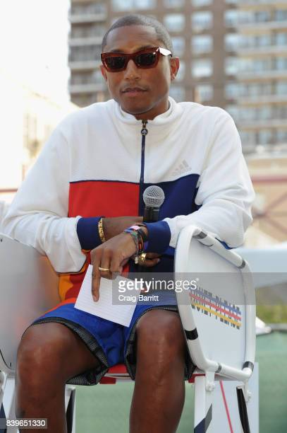 adidas Tennis Pharrell Williams Don't Be Quiet Please Event at Frederick Johnson Tennis Courts on August 26 2017 in New York City
