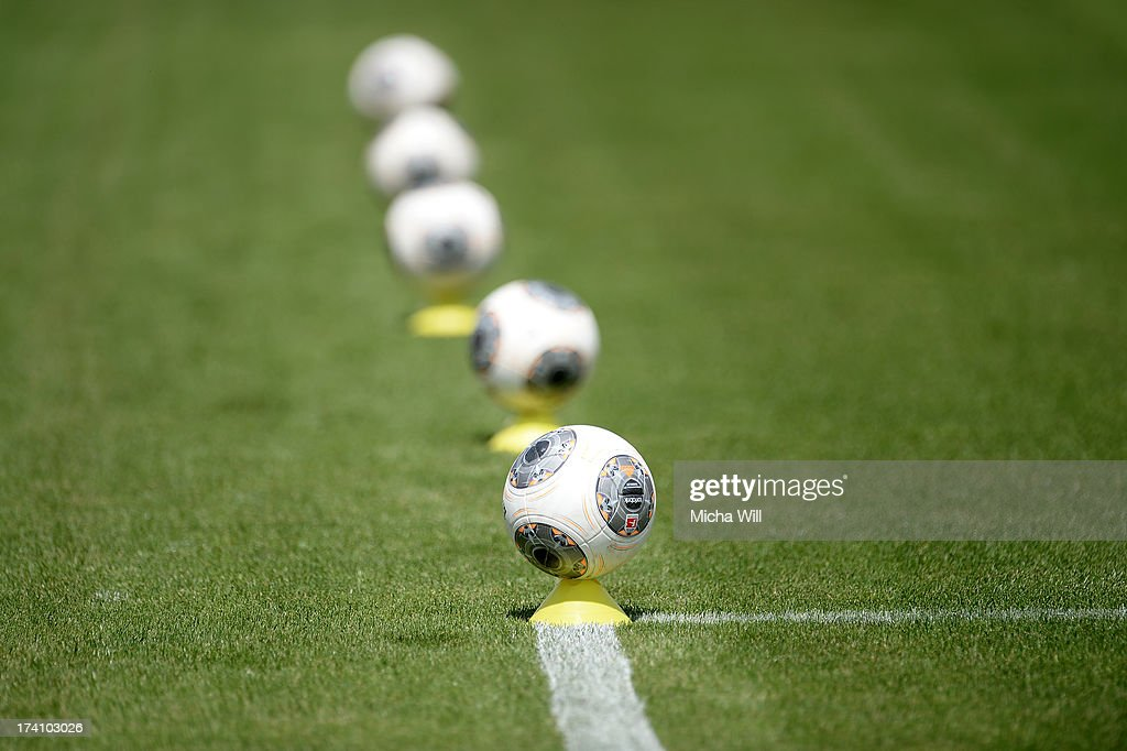Adidas Torfabrik soccer balls are geared up for warm up prior to the Third League match between Jahn Regensburg and SpVgg Unterhaching at Jahnstadion on July 20, 2013 in Regensburg, Germany.