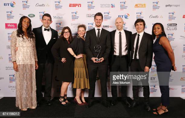 Adidas UK pose with the Brand of the Year award in association with Pinsent Masons during the BT Sport Industry Awards 2017 at Battersea Evolution on...
