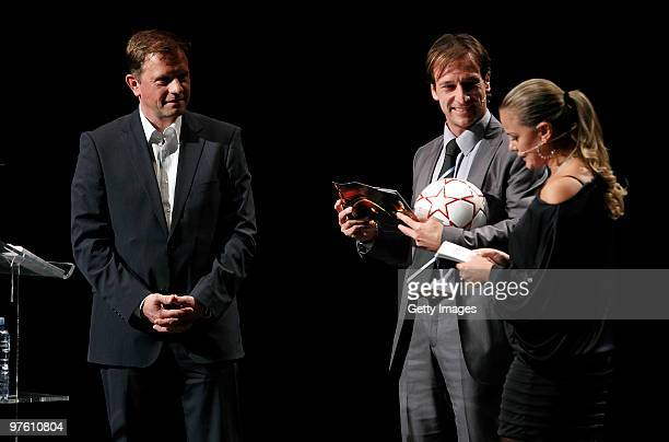Adidas Vice President Football Global Sports Marketing ClausPeter Mayer presents the new Official Match Ball for the UEFA Women's Champions League...