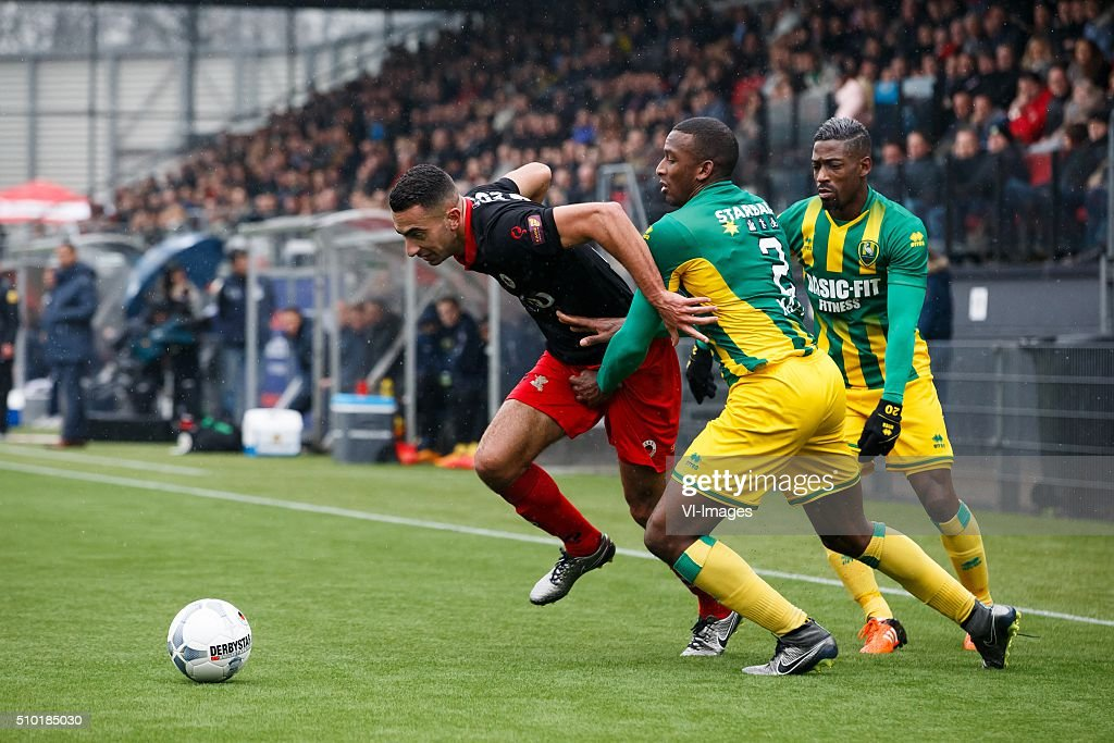 Adil Auassar of Excelsior, Dion Malone of ADO Den Haag, Ruben Schaken of ADO den Haag during the Dutch Eredivisie match between Excelsior Rotterdam and ADO Den Haag at Woudenstein stadium on February 14, 2016 in Rotterdam, The Netherlands