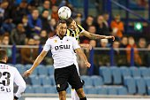 Adil Auassar of Excelsior Kevin Diks of Vitesse during the Dutch Eredivisie match between Vitesse Arnhem and Excelsior Rotterdam at Gelredome on...