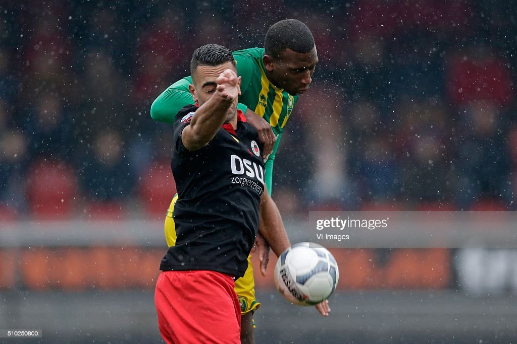Adil Auassar of Excelsior Rotterdam, Dion Malone of ADO Den Haag during the Dutch Eredivisie match between Excelsior Rotterdam and ADO Den Haag at Woudenstein stadium on February 14, 2016 in Rotterdam, The Netherlands