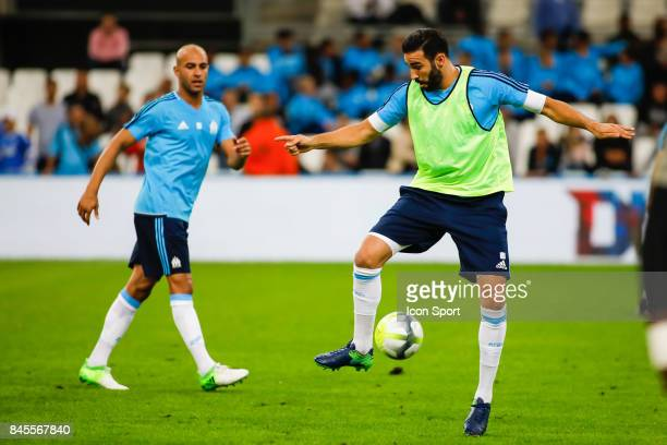 Adil Rami and Aymen Abdennour of Marseille during the Ligue 1 match between Olympique Marseille and Stade Rennais at Stade Velodrome on September 10...
