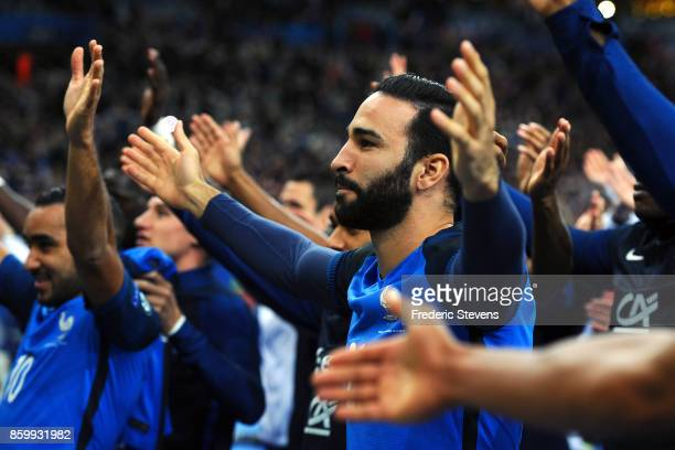 Adil Rami defender of France Football team after the victory of the France team during the FIFA 2018 World Cup Qualifier between France and Belarus...