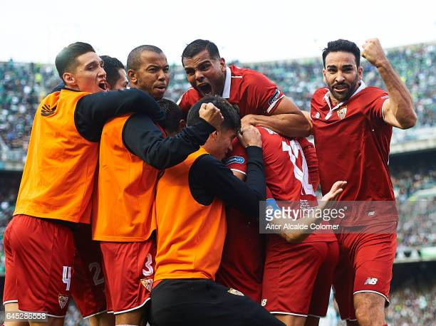 Adil Rami Mariano Ferreira Gabriel Mercado Matias Kranevitter of Sevilla FC celebrates after scoring Vicente Iborra of Sevilla FC during La Liga...