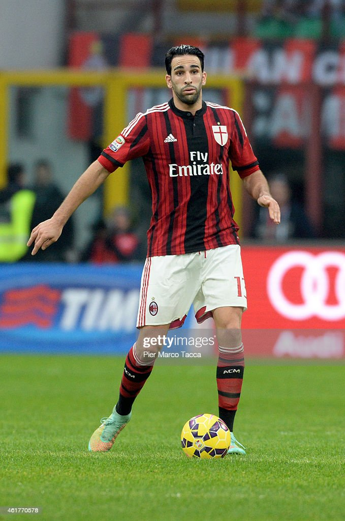 <a gi-track='captionPersonalityLinkClicked' href=/galleries/search?phrase=Adil+Rami&family=editorial&specificpeople=4305019 ng-click='$event.stopPropagation()'>Adil Rami</a> of AC Milan in action during the Serie A match between AC Milan and Atalanta BC at Stadio Giuseppe Meazza on January 18, 2015 in Milan, Italy.