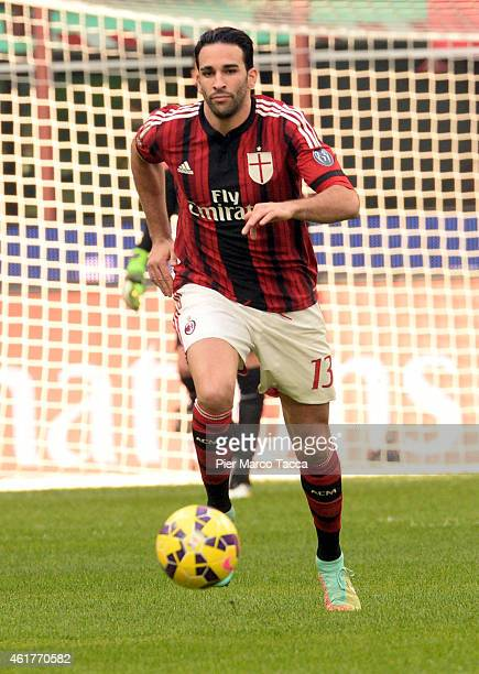 Adil Rami of AC Milan in action during the Serie A match between AC Milan and Atalanta BC at Stadio Giuseppe Meazza on January 18 2015 in Milan Italy
