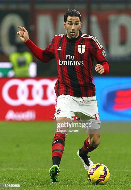 Adil Rami of AC Milan in action during the TIM Cup match between AC Milan and SS Lazio at Stadio Giuseppe Meazza on January 27 2015 in Milan Italy