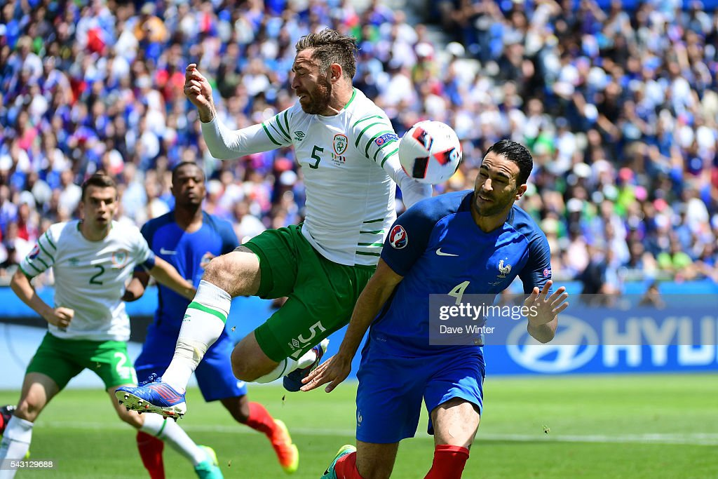 Adil Rami of France before the European Championship match Round of 16 between France and Republic of Ireland at Stade des Lumieres on June 26, 2016 in Lyon, France.