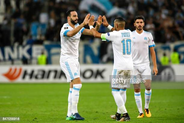 Adil Rami of Marseille celebrates scoring with Dimitri Payet during UEFA Europa League match between Olympique de Marseille and Konyaspor Kulubu at...