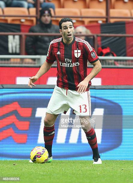 Adil Rami of Milan during the Serie A match between AC Milan and Empoli FC at Stadio Giuseppe Meazza on February 15 2015 in Milan Italy