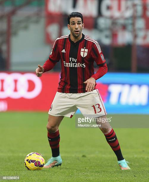 Adil Rami of Milan during the Serie A match between AC Milan and US Sassuolo Calcio at Stadio Giuseppe Meazza on January 6 2015 in Milan Italy