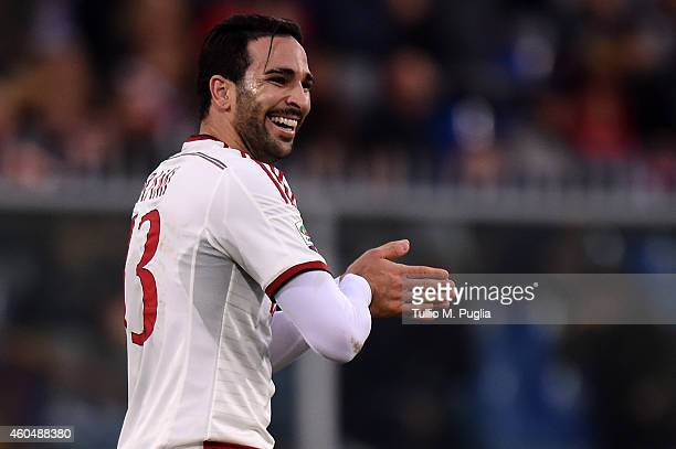 Adil Rami of Milan in action during the Serie A match between Genoa CFC and AC Milan at Stadio Luigi Ferraris on December 7 2014 in Genoa Italy