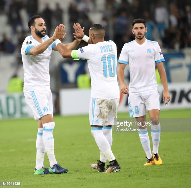 Adil Rami of Olympique de Marseille celebrates his score with Dimitri Payet during the UEFA Europa League Group I match between Olympique de...