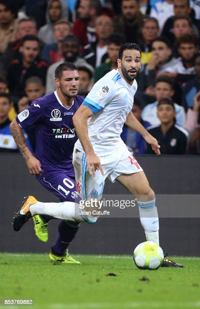 Adil Rami of OM Andy Delort of Toulouse during the French Ligue 1 match between Olympique de Marseille and Toulouse FC at Stade Velodrome on...