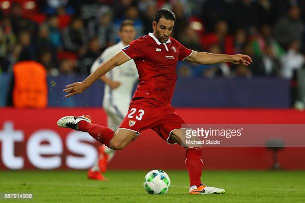 Adil Rami of Sevilla during the UEFA Super Cup match between Real Madrid and Sevilla at Lerkendal Stadium on August 9 2016 in Trondheim Norway