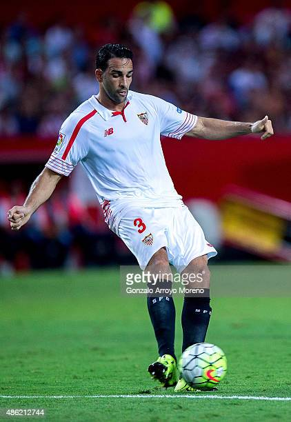 Adil Rami of Sevilla FC controls the ball during the La Liga match between Sevilla FC and Club Atletico de Madrid at Estadio Ramon Sanchez Pizjuan on...