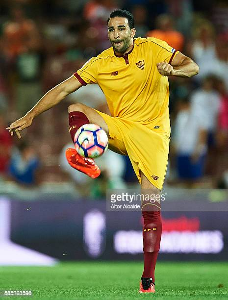 Adil Rami of Sevilla FC in action during a friendly match between Granada FC and Sevilla FC at Estadio Nuevo los Carmenes on August 2 2016 in Granada...