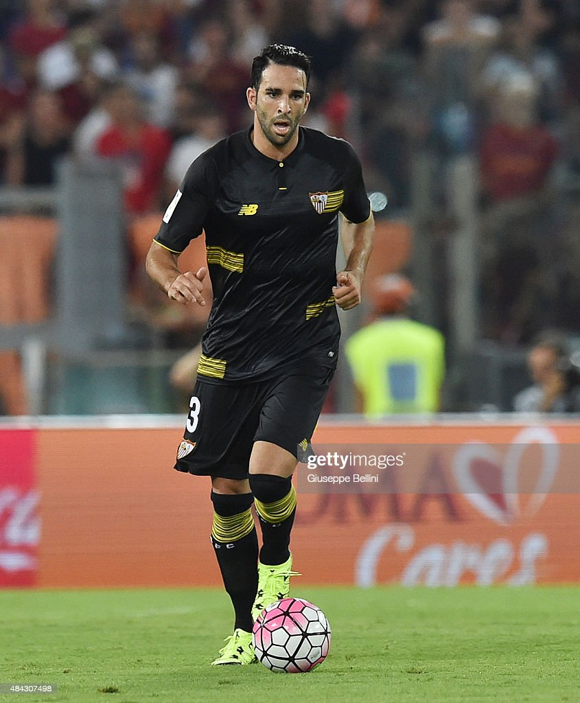 <a gi-track='captionPersonalityLinkClicked' href=/galleries/search?phrase=Adil+Rami&family=editorial&specificpeople=4305019 ng-click='$event.stopPropagation()'>Adil Rami</a> of Sevilla FC in action during the pre-season friendly match between AS Roma and Sevilla FC at Olimpico Stadium on August 14, 2015 in Rome, Italy.