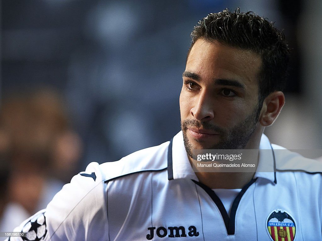 Adil Rami of Valencia looks on before the UEFA Champions League group F match between Valencia CF and FC Bayern Muenchen at Estadio Mestalla on November 20, 2012 in Valencia, Spain.