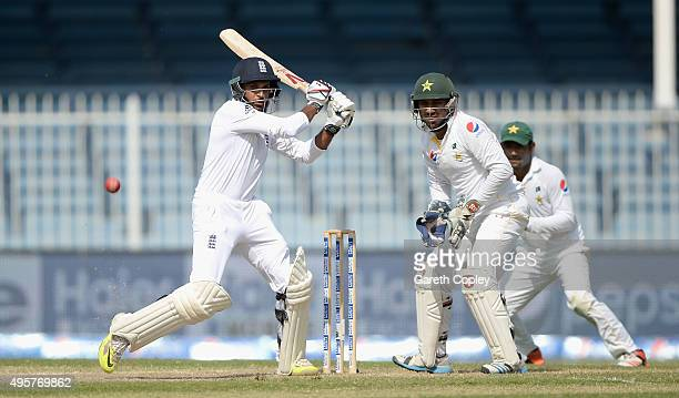 Adil Rashid of England bats during day five of the 3rd Test between Pakistan and England at Sharjah Cricket Stadium on November 5 2015 in Sharjah...