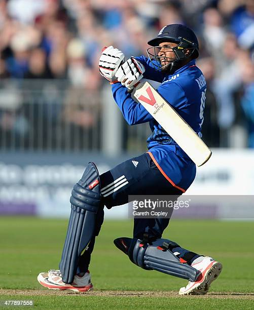 Adil Rashid of England bats during the 5th ODI Royal London OneDay match between England and New Zealand at Emirates Durham ICG on June 20 2015 in...