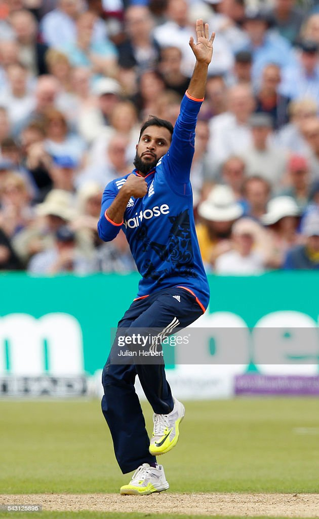 Adil Rashid of England bowls during The 3rd ODI Royal London One-Day match between England and Sri Lanka at The County Ground on June 26, 2016 in Bristol, England.
