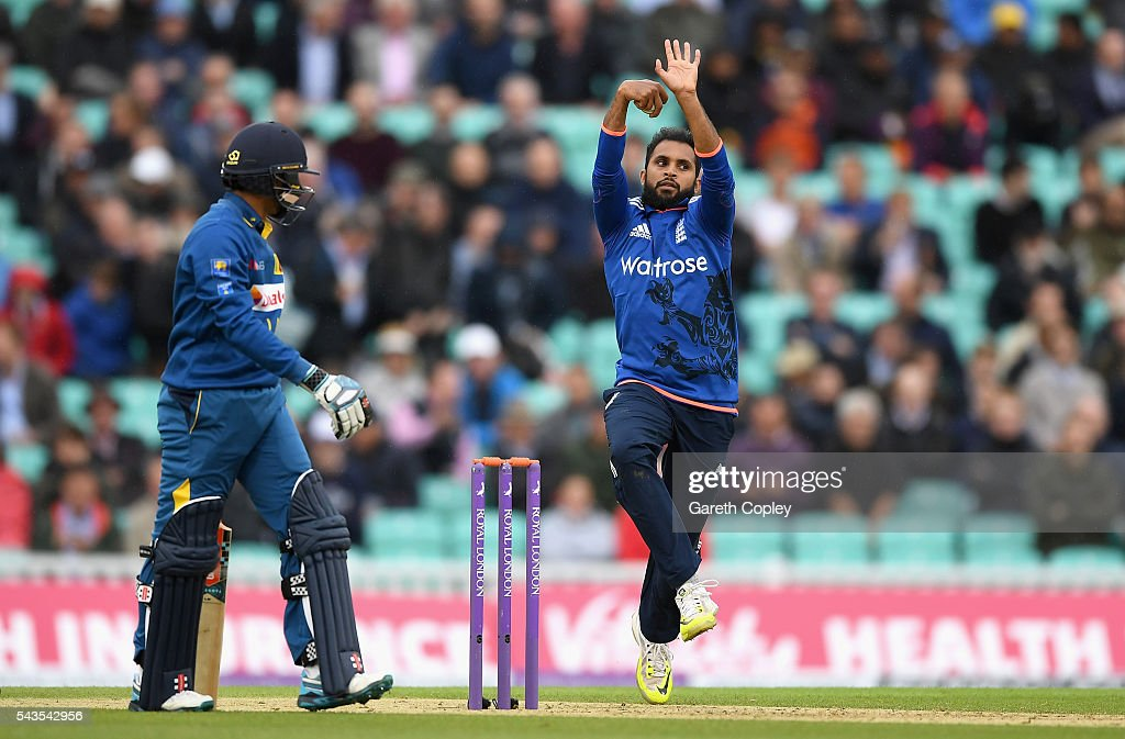 <a gi-track='captionPersonalityLinkClicked' href=/galleries/search?phrase=Adil+Rashid&family=editorial&specificpeople=870228 ng-click='$event.stopPropagation()'>Adil Rashid</a> of England bowls during the 4th ODI Royal London One Day International match between England and Sri Lanka at The Kia Oval on June 29, 2016 in London, England.