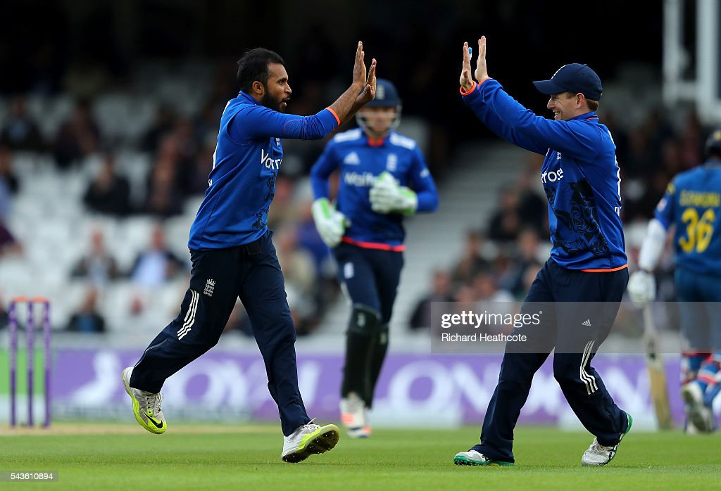 <a gi-track='captionPersonalityLinkClicked' href=/galleries/search?phrase=Adil+Rashid&family=editorial&specificpeople=870228 ng-click='$event.stopPropagation()'>Adil Rashid</a> of England celebrates taking the wicket of Danushka Gunathilaka of Sri Lanka during the 4th Royal London ODI between England and Sri Lanka at The Kia Oval on June 29, 2016 in London, England.