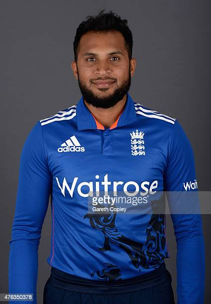 Adil Rashid of England poses for a portrait at Edgbaston on June 8 2015 in Birmingham England