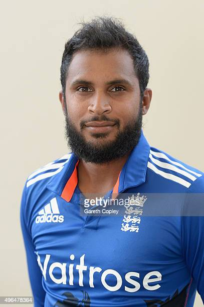 Adil Rashid of England poses for a portrait at Zayed Cricket Stadium on November 10 2015 in Abu Dhabi United Arab Emirates