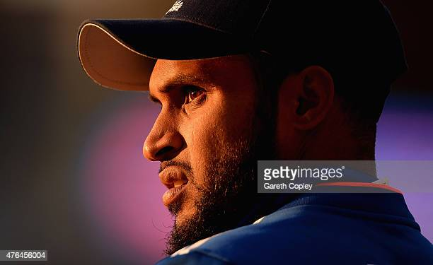 Adil Rashid of England stand on the boundary during the 1st ODI Royal London OneDay match between England and New Zealand at Edgbaston on June 9 2015...