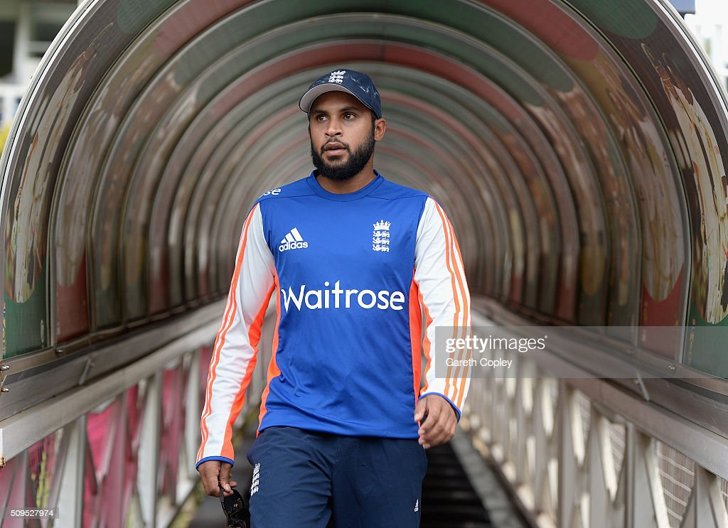 <a gi-track='captionPersonalityLinkClicked' href=/galleries/search?phrase=Adil+Rashid&family=editorial&specificpeople=870228 ng-click='$event.stopPropagation()'>Adil Rashid</a> of England walks from the tunnel ahead of a nets session at Bidvest Stadium on February 11, 2016 in Johannesburg, South Africa.