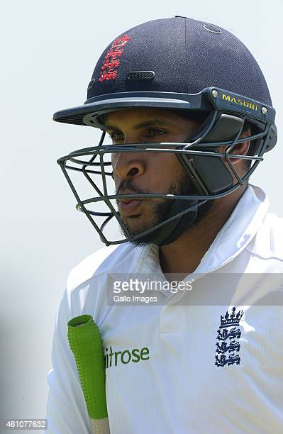 Adil Rashid of England walks off during day 2 of the match between England A and Gauteng Invitational XI at Soweto Campus Oval on January 06 2015 in...
