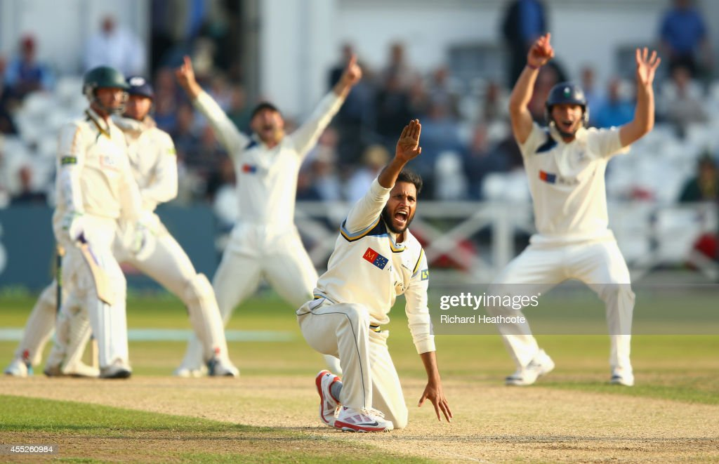 Adil Rashid of Yorkshire appeals for a LBW during the third day of the LV County Championship match between Nottinghamshire and Yorkshire at Trent...