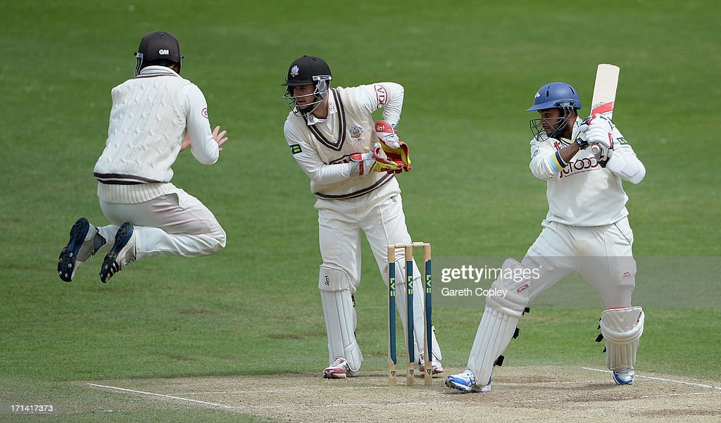 <a gi-track='captionPersonalityLinkClicked' href=/galleries/search?phrase=Adil+Rashid&family=editorial&specificpeople=870228 ng-click='$event.stopPropagation()'>Adil Rashid</a> of Yorkshire bats during day four of the LV County Championship Division One match between Yorkshire and Surrey at Headingley on June 24, 2013 in Leeds, England.