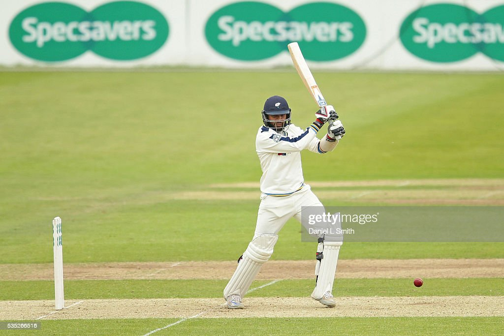 <a gi-track='captionPersonalityLinkClicked' href=/galleries/search?phrase=Adil+Rashid&family=editorial&specificpeople=870228 ng-click='$event.stopPropagation()'>Adil Rashid</a> of Yorkshire bats during day one of the Specsavers County Championship: Division One match between Yorkshire and Lancashire at Headingley on May 29, 2016 in Leeds, England.