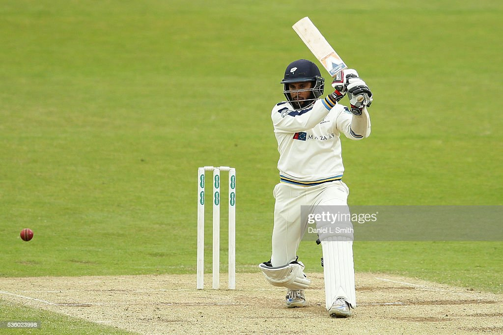 Adil Rashid of Yorkshire bats during day three of the Specsavers County Championship: Division One match between Yorkshire and Lancashire at Headingley on May 31, 2016 in Leeds, England.